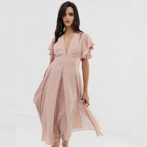 Asos Pink Bridesmaid Dress Flutter Sleeve Size 6